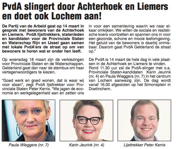 PvdA slingert door Achterhoek en Liemers en doet ook Lochem aan